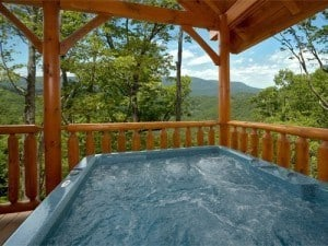 hot tub with view at Wears Valley cabin