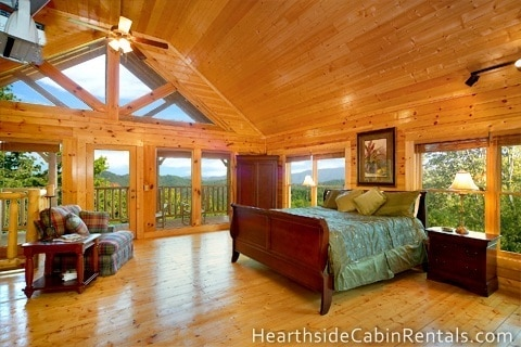 Bedroom of a cabin at The Preserve