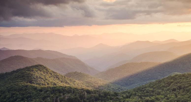 view of Smoky Mountain sunrise