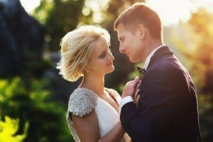 Photo of bride and groom at their wedding in the Smoky Mountains.