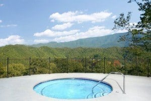 The outdoor hot tub at the Preserve Resort in the Smoky Mountains.