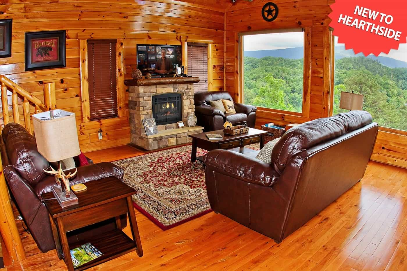 living area with mountain view