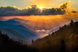 Stunning sunset in the Smoky Mountains