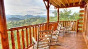 Rocking chairs on the deck of a cabin
