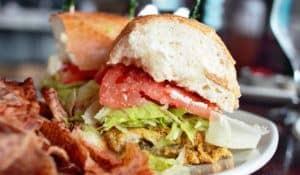 A delicious po' boy sandwich.