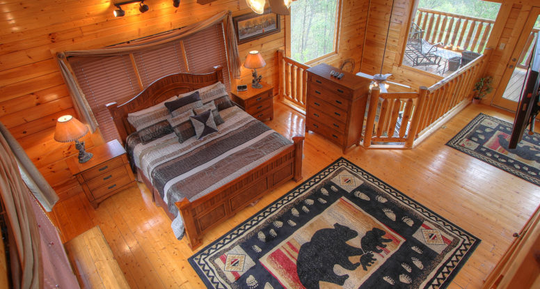 Cabin bedroom with bear rug