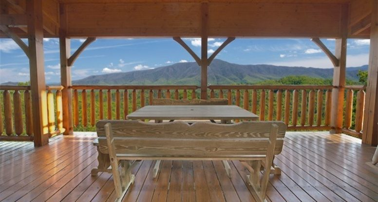 Beautiful mountain views from the deck of a Wears Valley cabin rental.