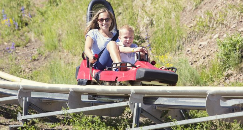 Mother and child on an alpine coaster in Pigeon Forge