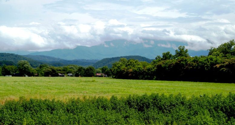 View of the Smoky Mountains and meadows in Wears Valley