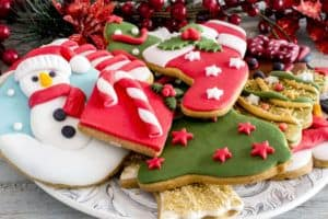 Festive plate of Christmas cookies