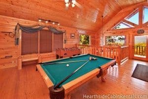 game room in high timber retreat