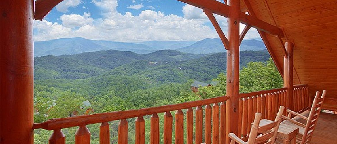 smoky mountain view from cabin deck