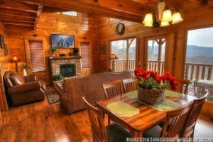 dining room and living room in a pigeon forge cabin